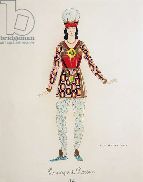 Costume for the Prince of Persia from Turandot by Giacomo Puccini, sketch by Umberto Brunelleschi (1879-1949) for the first performance of the opera at the Teatro alla Scala in Milan, April 25, 1926. 20th century
