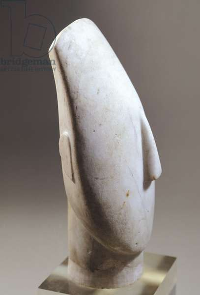 Head of idol in marble from Amorgos, Greece, 35.5 cm high, Cycladic civilization, 3500-1050 BC