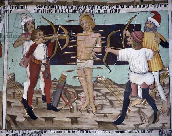 Martyrdom of St Sebastian, Saint Sebastian's life (15th century), frescoes, Chapel of St Sebastian, Villard-de-Lans, Rhone-Alpes, France.