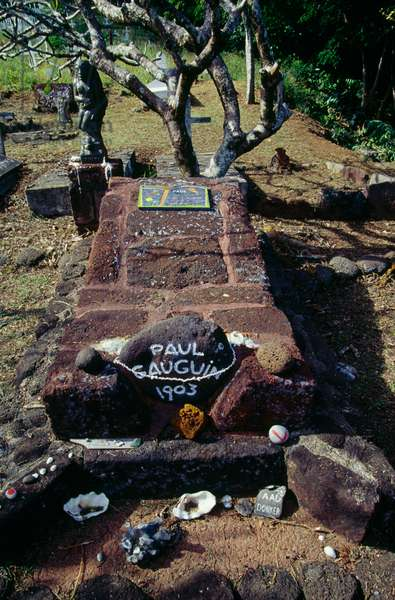 Tomb of Paul Gauguin (1848-1903) in Calvaire cemetery in Atuona, Hiva Oa island, Marquesas Islands, French Polynesia, overseas territory of French Republic