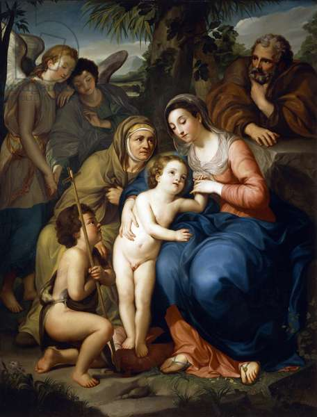 The Holy Family with Saint Elizabeth, Saint John the Baptist and two angels, by Anton Raphael Mengs, 1749, oil on canvas, 1728-1779, 1867 x1438 cm