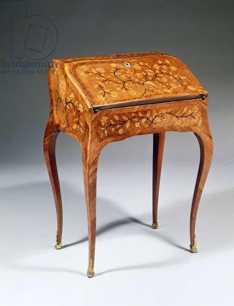 Louis XV style drop leaf writing desk with kingwood veneer finish, 1750, France, 18th century