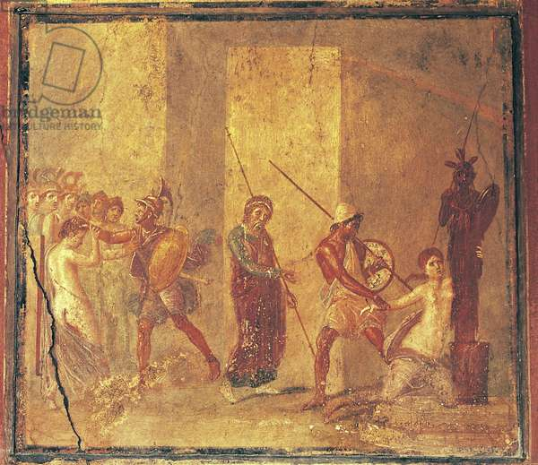 Cassandra clinging to statue of Athena to escape grip of Odysseus while Menelaus is dragging Helen by hair, fresco in House of Menander, Pompeii (Unesco World Heritage List, 1997), Campania, Italy, Roman civilization, 3rd century BC