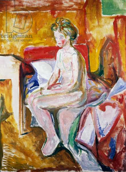 Nude on edge of bed, 1916