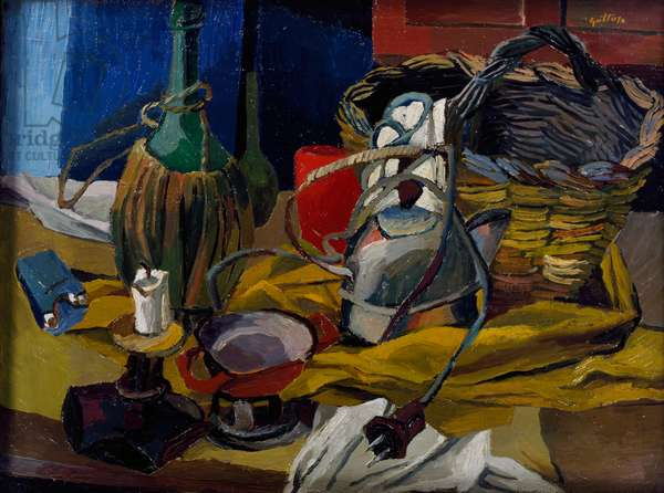 Flask, candle and kettle, 1940, by Renato Guttuso (1911-1987), oil on canvas. Italy, 20th century.