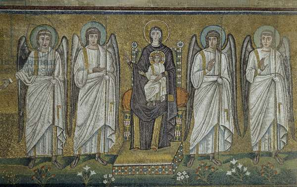 Basilica of Sant'Apollinare Nuovo, Detail of mosaics representing Virgin and Child enthroned with Angels, Ravenna, Emilia-Romagna, Italy