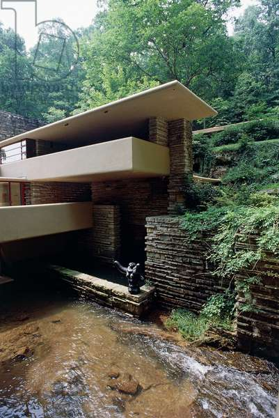 House on the waterfall, Fallingwater or Kaufmann House, 1936-1939, designed by architect Frank Lloyd Wright (1867-1959). Mill Run, Pennsylvania, United States of America, 20th century.