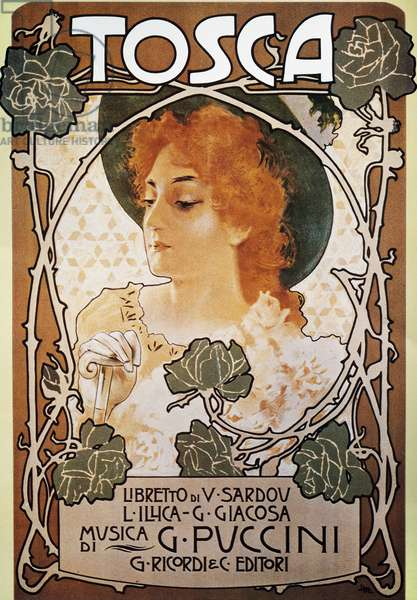 Poster for Tosca, opera by Giacomo Puccini (1858-1924)