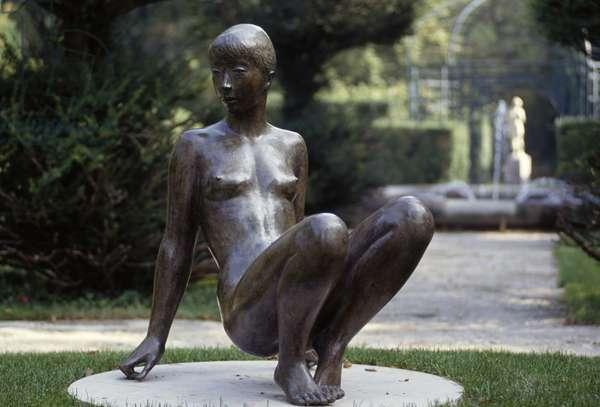 Vagabondage, bronze statue by Jacques Coquillay Le Prieure garden, Le Bourget du Lac, Auvergne-Rhone-Alpes, France (photo)