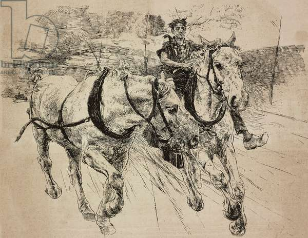 Reinforcement carriage horses, engraving from original drawing by Giovanni Boldini, from his painting, from L'Illustrazione Italiana, No 2, January 9, 1887