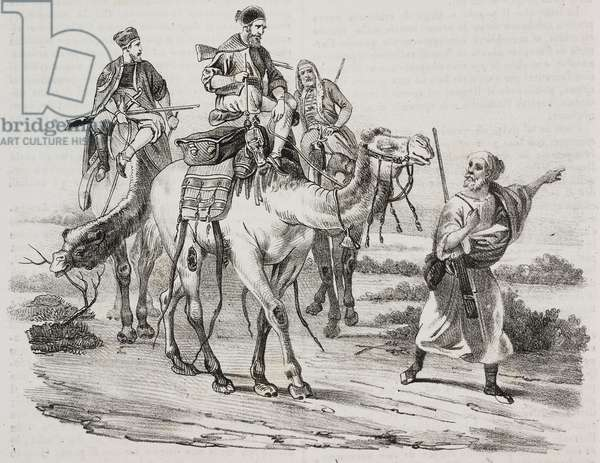 Horace Vernet on the road in the desert, lithograph by Gaetano Riccio from Poliorama Pittoresco, n 14, November 9, 1844