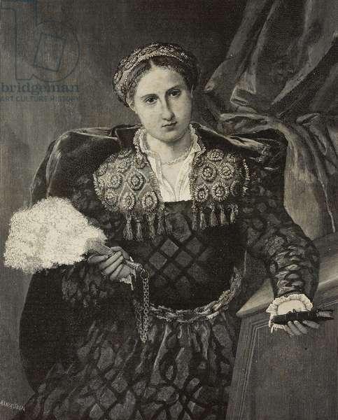 Portrait of Laura da Pola, oil on canvas by Lorenzo Lotto, engraving by Ernesto Mancastropa after photo by C Marcozzi, from L'Illustrazione Italiana, Year XX, No 30, July 23, 1893
