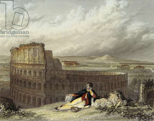 Lord Byron Contemplating the Colosseum (coloured engraving)