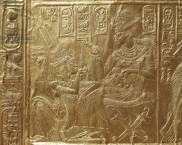 Tutankhamun and his wife, detail of ritual casket, model of sanctuary of goddess Nekhbet, decorated with bas-reliefs of scenes from life of king, carved wood and gold, from Tomb of Tutankhamun, Egyptian Civilisation, Middle Kingdom, Dynasty XVIII