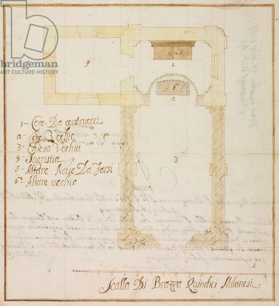Design for expansion of Oratory of Saint Francis at Oneda farms, Oriano sopra Ticino, Sesto Calende, parish of Angera, January 10, 1756, Cardinal Giuseppe Pozzobonelli, plan, Italy, 18th century