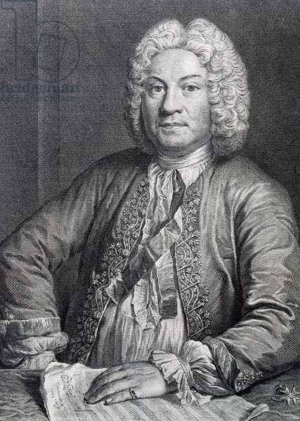 Portrait of Francois Couperin (Paris, 1668 - Paris, 1733), French composer and organist, engraving