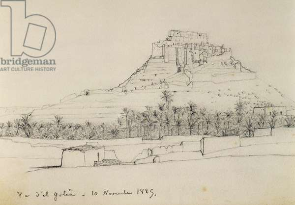 El Golea, November 10, 1885, drawing by Charles Eugene de Foucauld (1858-1916) from Voyage to southern Algeria and southern Tunisia, 1885-1886, Africa, 19th century