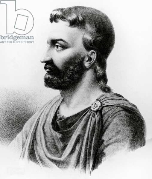 Portrait of Aulus Cornelius Celsus (25 BC-50 AD), Latin writer, Roman encyclopedist and physician, engraving from 19th century