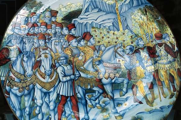 Majolica plate depicting Procession of Magi, by Benozzo Gozzoli (circa 1420-1497), Gualdo Tadino handicrafts, Umbria, Italy