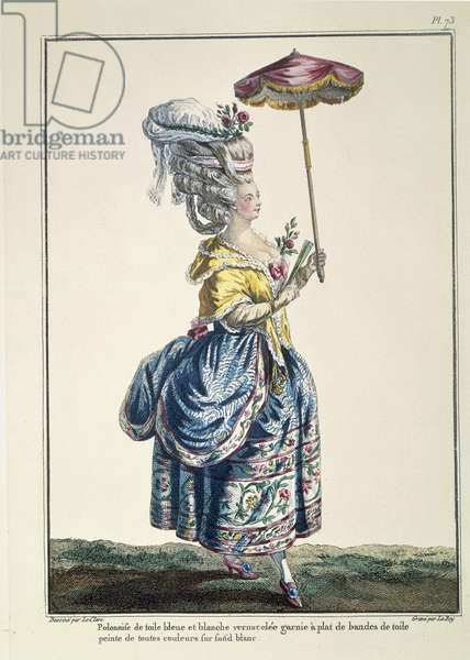 Women's fashion plate, from Galeries des Modes, by Pierre Thomas Le Clerc, 1778