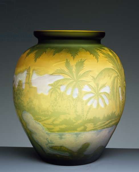 Glass vase, Rio de Janeiro series with landscape engraved in green, orange and purple, ca 1900, by Emile Galle, Nancy, France, 20th century