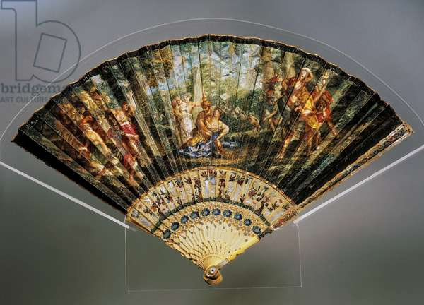 Hand fan with Rape of Sabine Women, goatskin leaf, painted ivory and mother of pearl ribs, France, 19th century