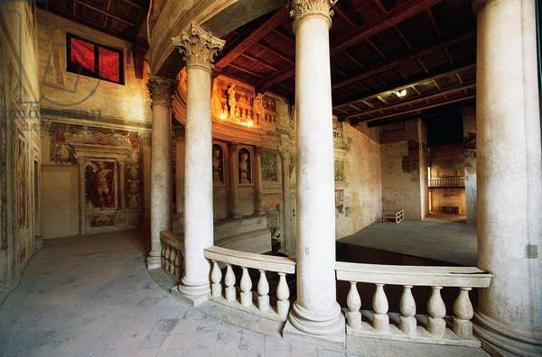 Interior of the Theatre in the style of the Ancients, 1588-1590, architect Vincenzo Scamozzi, Sabbioneta, Lombardy, Italy