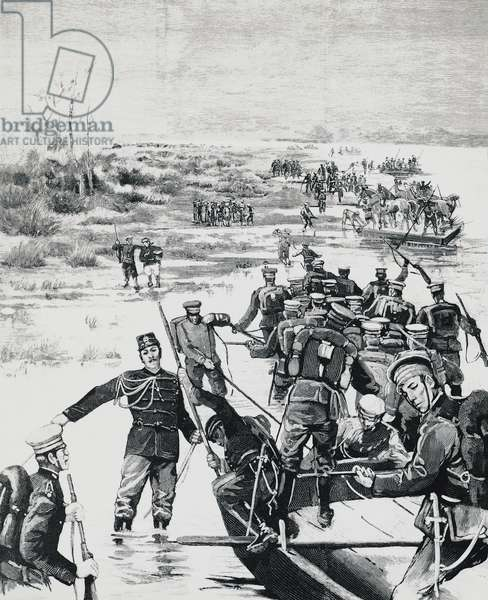 Japanese troops under the command of Yamagata Aritomo crossing the Yalu river, 1894, first Sino-Japanese War, China-North Korea, 19th century