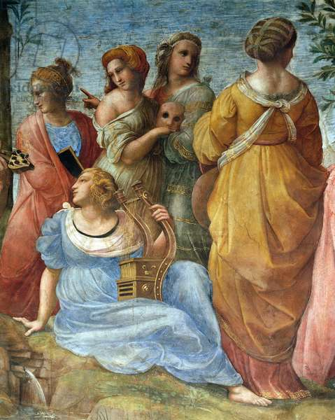 The muses, detail of The Parnassus, 1510-1511, by Raphael (1483-1520), fresco, Room of the Segnatura, Apostolic Palace, Vatican City