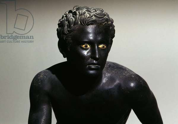 Runner, bronze sculpture from Villa of the Papyri, Herculaneum, Campania, Italy. Roman civilization, 1st century BC