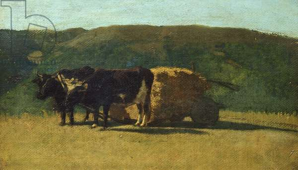 Black oxen pulling wagon by Raffaello Sernesi (1838-1866)