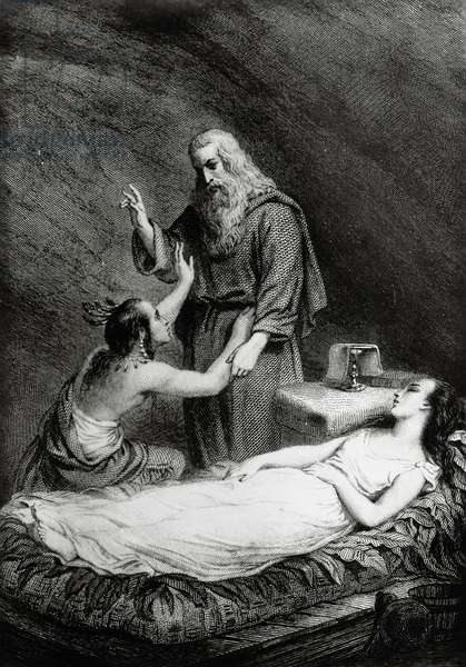Death of Atala, illustration for Atala, novella by Francois-Rene, vicomte de Chateaubriand (1768-1848), engraving after a drawing by Pierre Gustave Eugene Staal (1817-1882), from Parisian edition
