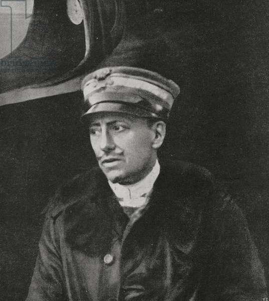 Gabriele D'Annunzio, Commander of Serenissima squadron, Italy, World War I, from l'Illustrazione Italiana, Year XLV, No 40, October 6, 1918