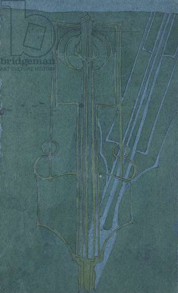 Shadow, 1896, by Charles Rennie Mackintosh (1868-1928), watercolor and pencil on blue paper, 30x18 cm