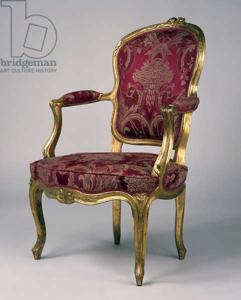 Louis XV style carved and gilt beech cabriolet armchair, France, 18th century