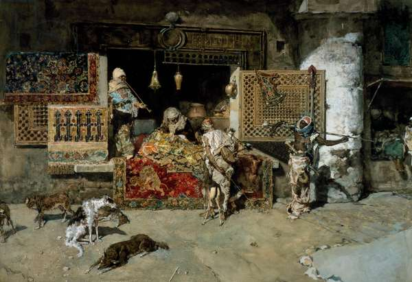 Carpet seller, 1870, painting by Mariano Fortuny y Carbo (1838-1874)