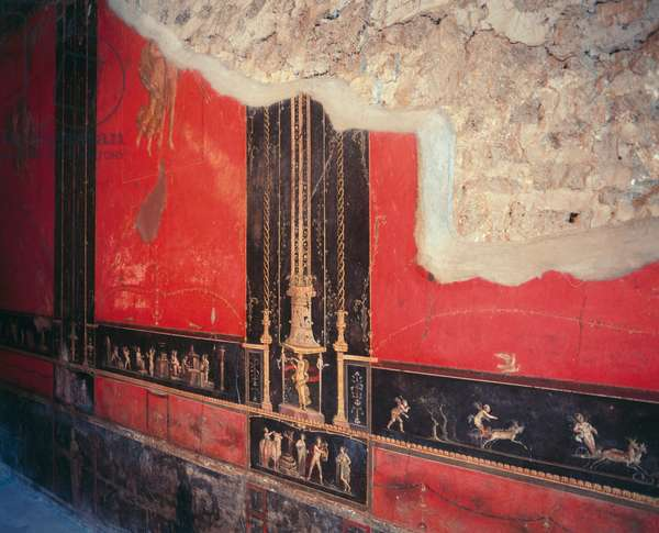 Wall frescoes of main triclinium, House of Vettii, Pompeii (UNESCO World Heritage Site, 1997), Italy, Roman civilization, 1st century BC