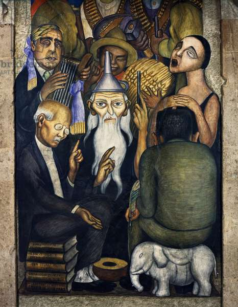 The Sages, 1928, by Diego Rivera (1886-1957), detail from the Ministry of Education frescoes (1923-1928), Mexico City. Mexico, 20th century.