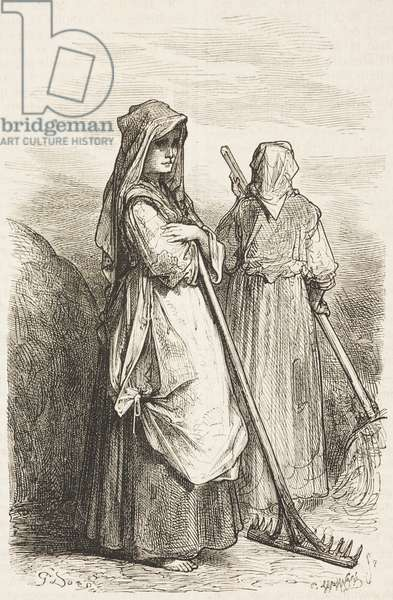 Two female rebuscadoras (gleaners), Extremadura, Spain, drawing by Dore, from Travels in Spain by Gustave Dore (1832-1883) and Jean Charles Davillier (1823-1883)