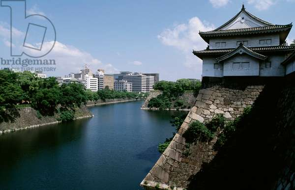 View of Osaka Castle and moat beneath, Kansai, Osaka, 16th century, Japan