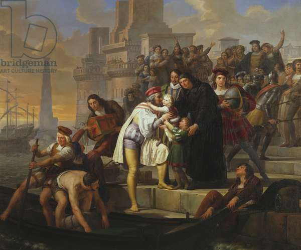 Christopher Columbus embracing his two sons and recommending them to Father Giovanni Perez before leaving Palos for the journey to discover America, 1826-1828, painting by Pelagio Palagi, oil on canvas, 131x1575 cm