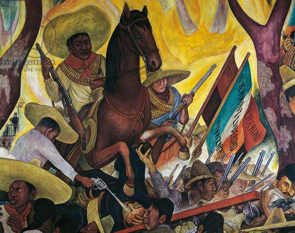 Zapata and the Revolution, detail from Dream of a Sunday afternoon in Alameda Park, 1947, by Diego Rivera (1886-1957), from the Hotel del Prado fresco. Mexico, 20th century.