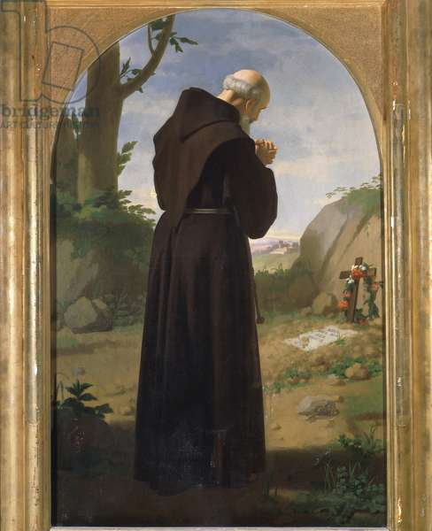 Monk praying at a grave, 1867, by Louis Sciallero (1829-1920), oil on canvas, 113x70 cm.