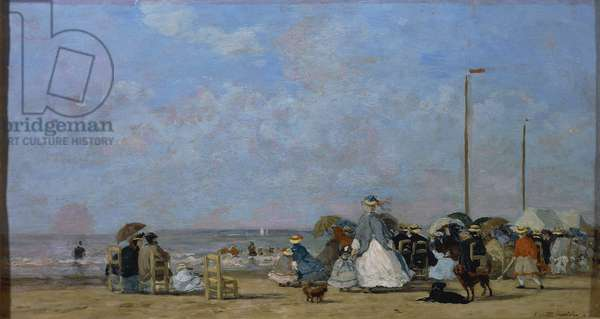On Trouville Beach, by Eugene Boudin, painting