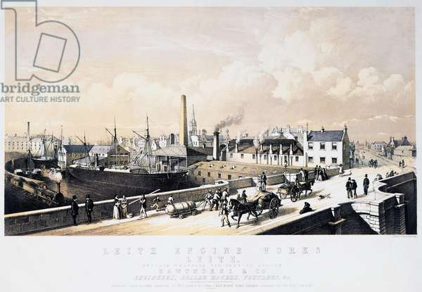 Industrial estate and factories in Leith in Scotland, engraving, United Kingdom, 19th century