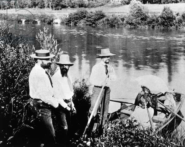 Claude Debussy (1862-1918) with Raymond Bonheur, Ernest Chausson and his wife on banks of Marne near Luzancy, France, 1893