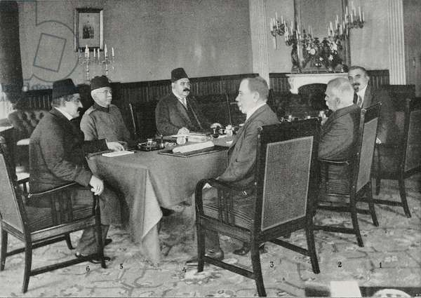 Session of Turkish-Bulgarian delegates to conclude peace talks returning Adrianople (Edirne) and Thrace to Turkey, Istanbul, Turkey, Second Balkan War, photograph by Georges Hurmuz, from L'Illustrazione Italiana, Year XL, No 39, September 28, 1913