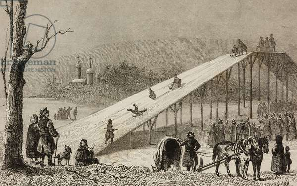 Roller-coaster, ice slides in Russia, engraving by Lemaitre and Vernier from Russie by Jean Marie Chopin (1796-1870)