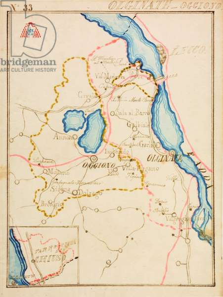 Parishes of Olginate and Oggiono, with parish of Chiuso, on occasion of pastoral visit of Cardinal Andrea Carlo Ferrari, 1895-1897, planimetry with lakes Annone, Como, Garlate and Adda River, railway in a red line, Italy, 19th century