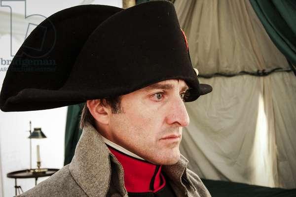 Historical reenactment: Napoleon Bonaparte in his field tent at Waterloo, June 1815, Napoleonic Wars, 19th century